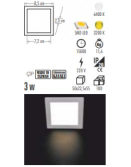 CT-5134 KARE 3W LED PANEL
