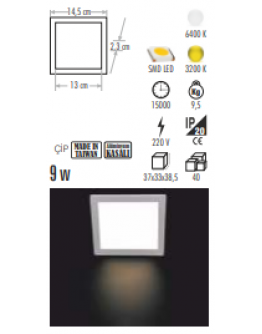 CT-5136 9W KARE LED PANEL
