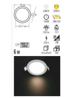 CT5645 6W LED PANEL ARMATÜR